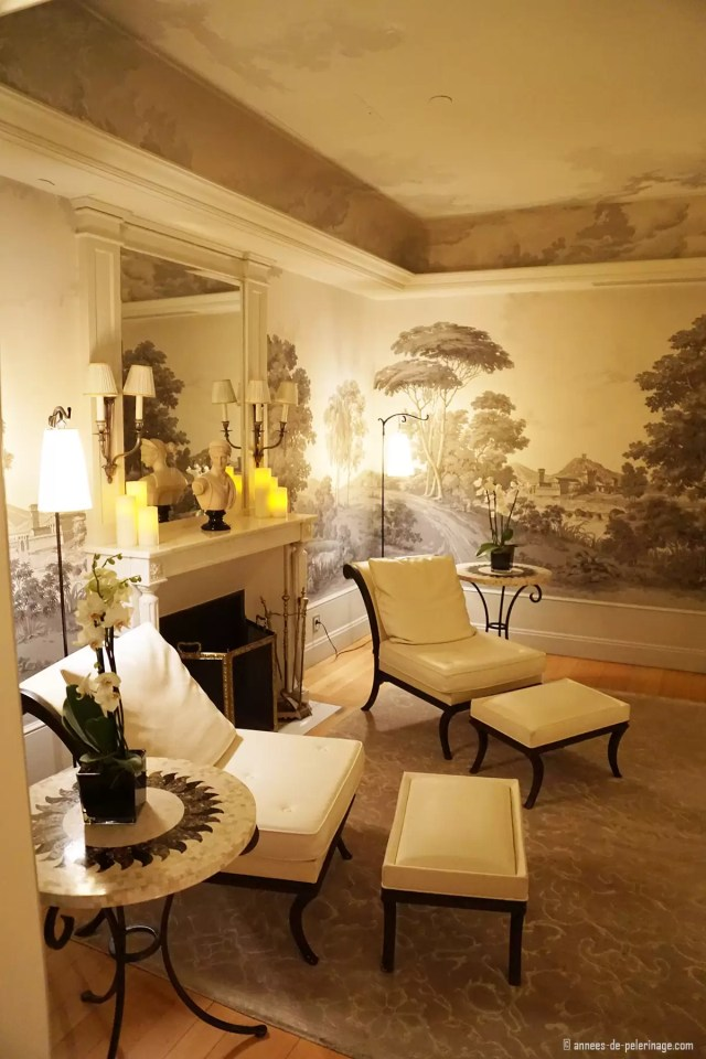 The relaxation room inside the spa of the Four Seasons Hotel George V in Paris