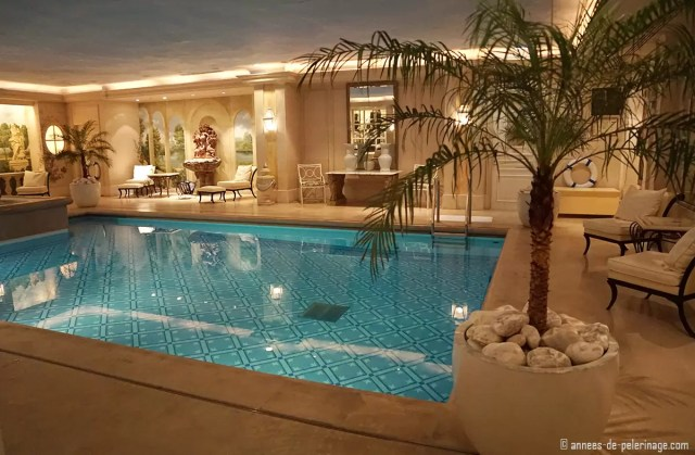The pool inside the spa of the Four Seasons Hotel George V in Paris