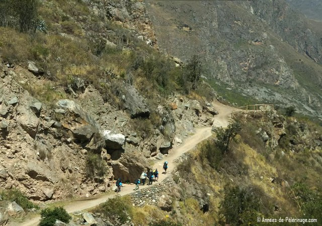 A group of travelers on the Inca Trail on their way to Machu Picchu
