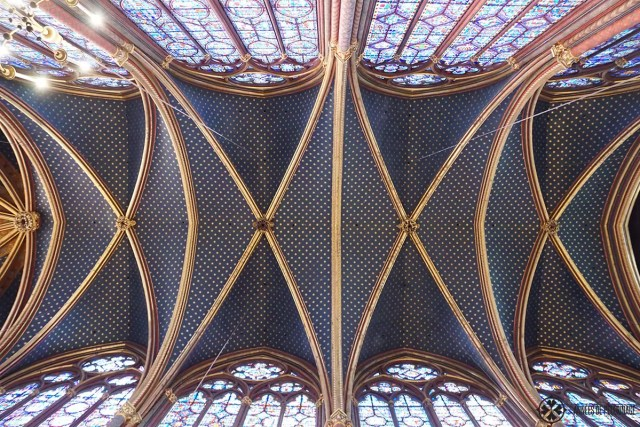The blue ceiling of Saint-Chapelle in Paris