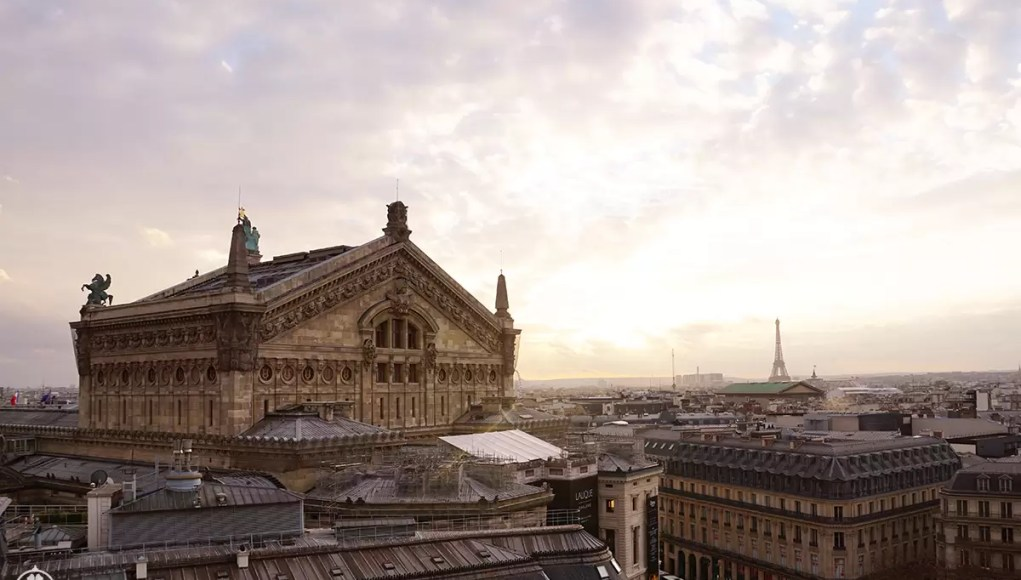 The stellar view from the roof of the Galleries la Fayette in Paris with the Eifel tower in the background