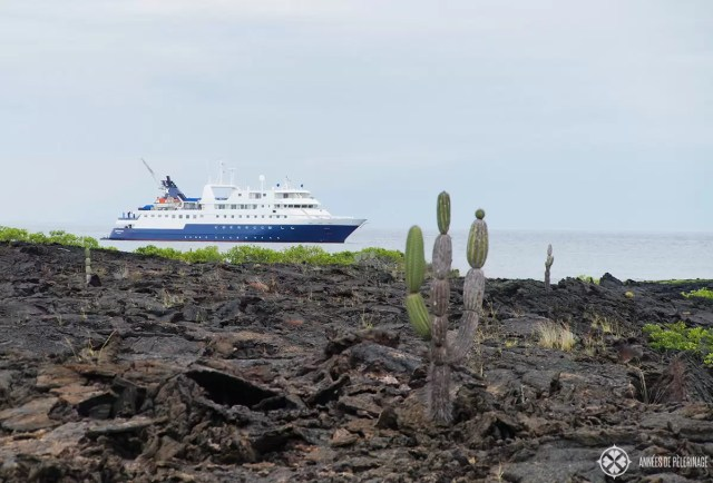 The Celebrity Xpedition Galapagos luxury cruise ship in the background - some lava formations in the foreground