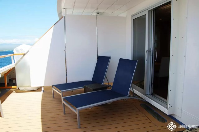 The veranda of the oenthouse suite of the Celebrity Xpedition Galapagos luxury cruise ship