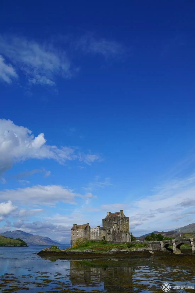 Eilean Donan Castle Scotland at low tide. It is often called Scotland's most beautiful castle