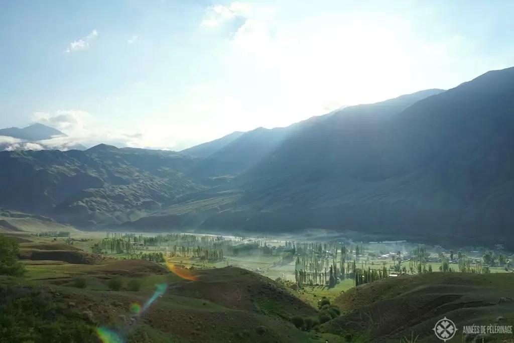 Kyzyl-Oi in Kyrgyzstan shrouded in early morning mist