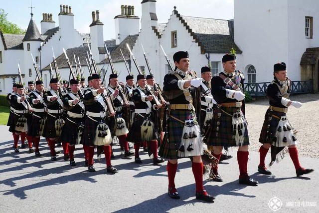 The atholl highlanders private army in front of Blair Castle Scotland
