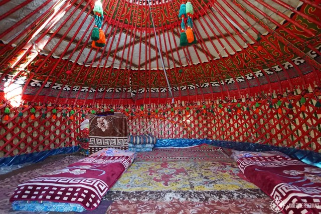 Inside a traditional yurt in Kyrgyzstan. You actually sleep on felt mattresses on the ground.