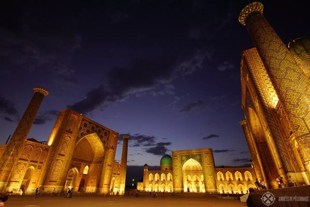 The Registan Ensemble in Samarkand, Uzbekistan, at night