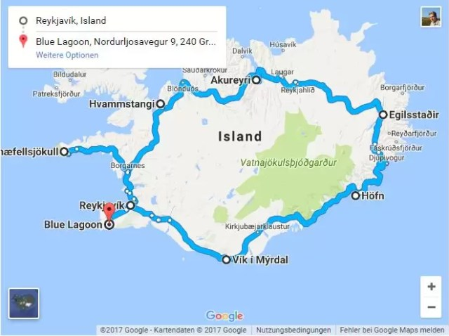 Map of the perfect Iceland Itinerary