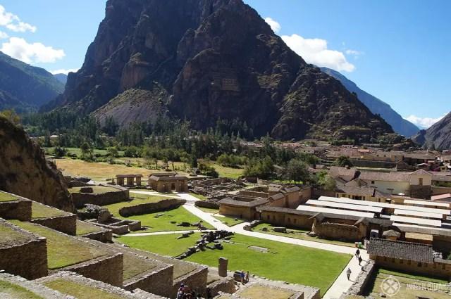 Araqama Ayllu district seen from the top of Ollantaytambo, Peru