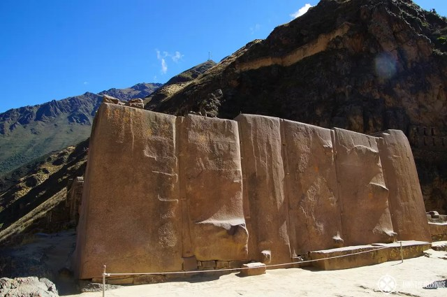The six monoliths in the Templo del Sol in Ollantaytambo, Peru