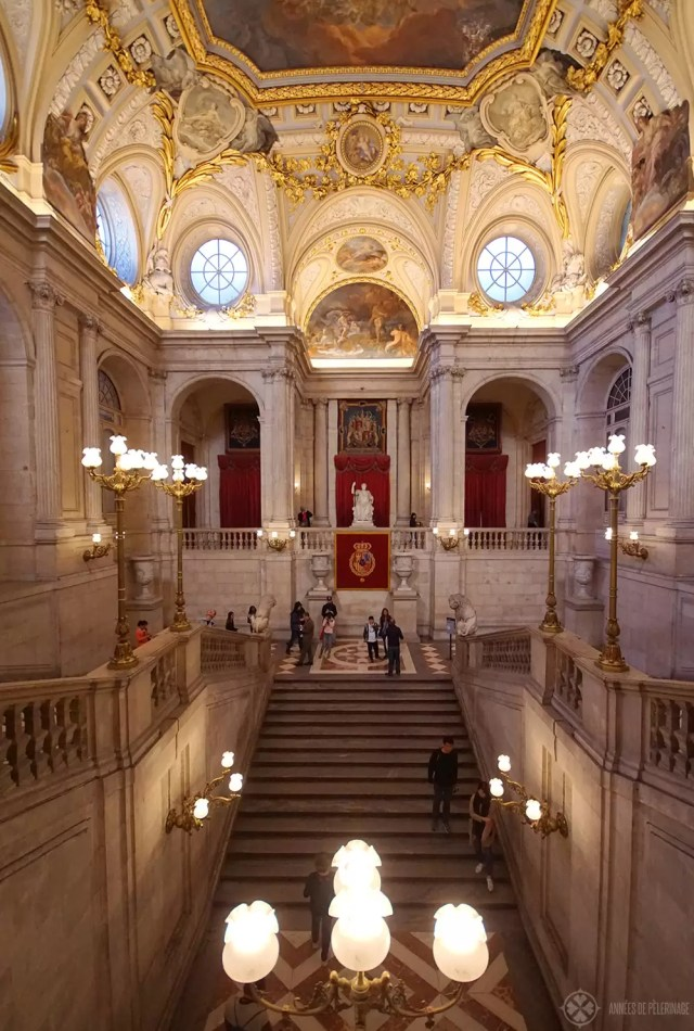 The main staircase inside the Royal Palace in Madrid, Spain