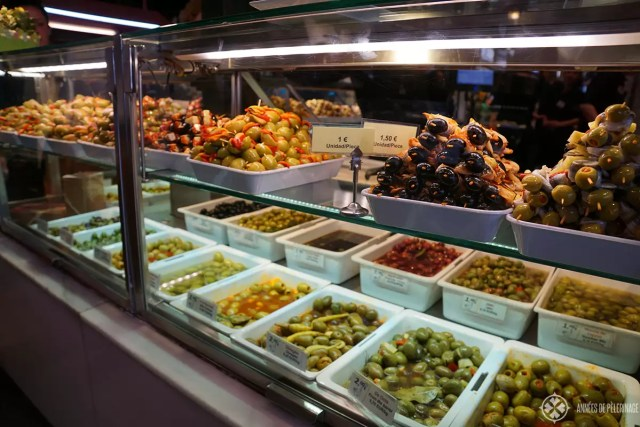 A tapas bar with a lot of kinds of olives in Madrid, Spain