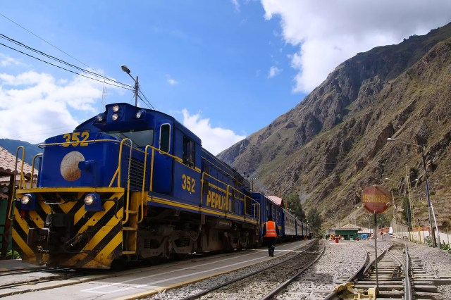 The PeruRail train from Cusco to Machu Picchu at the train station in Ollantaytambo
