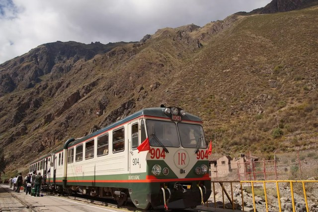 The inca rail train from Cusco to Machu Picchu at the train station