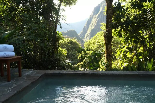 The Belmond Sanctuary Lodge Machu Picchu. Seen here: the view from the pool