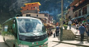 The bus from Aguas Calientes on its way to the Inca ruins of Machu Picchu