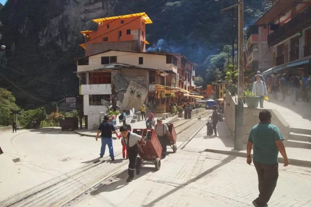 A street lined with hotels in Aguas Calientes Peru