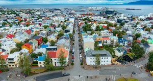 The view of Reykjavik from the Hallgrimskirkja in Iceland