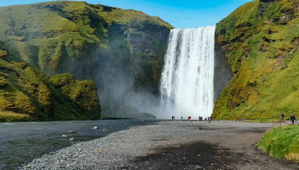 The majestic Skogafoss waterfall in Iceland