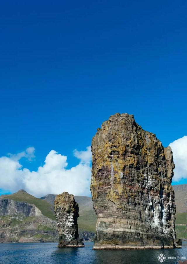 Two rock needles near Mykines in Faroe Islands