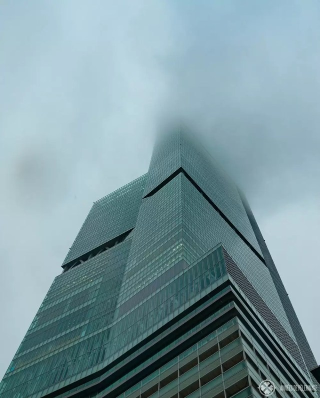 The abeno harukas tower with clouds obscuring the very top - the higghest building in Osaka