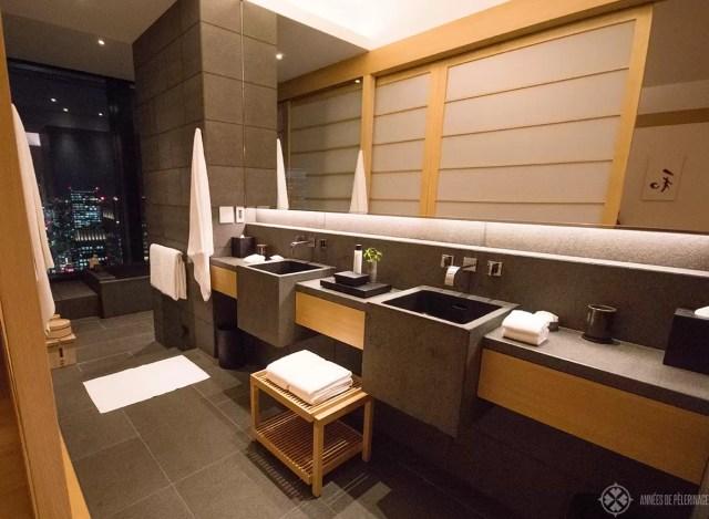 The spacious bathroom of the Aman Tokyo