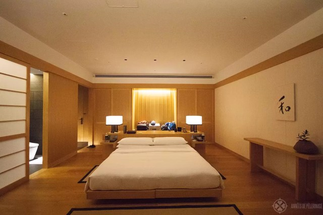 The beedroom of the Aman Tokyo