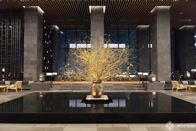 flower arrangement lobby aman tokyo