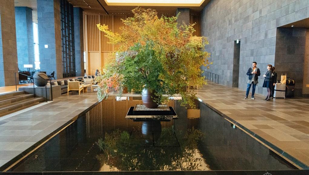 A flower arrangement inside the lobby of the Aman Tokyo