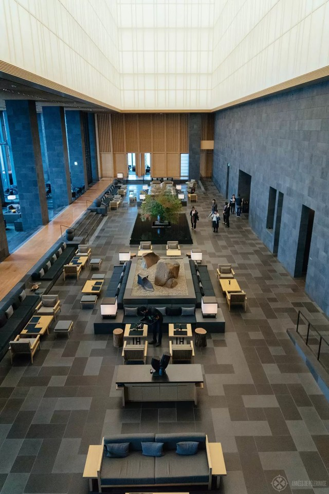 Another view of the lobby of the Aman Tokyo, said to resemble an andon lantern