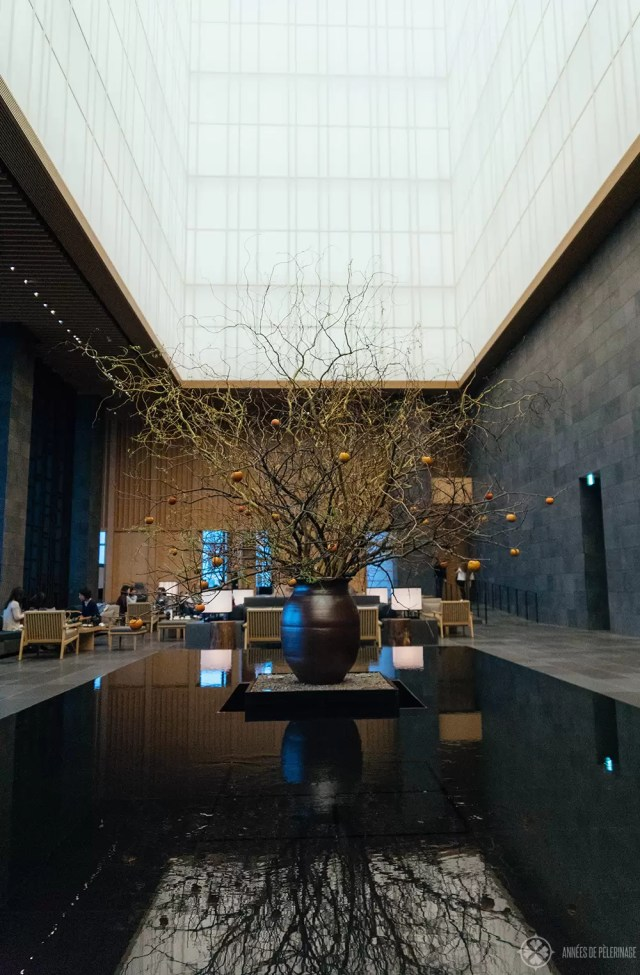 The grand lobby of the AMan Tokyo luxury hotel - some say the best hotel in Tokyo