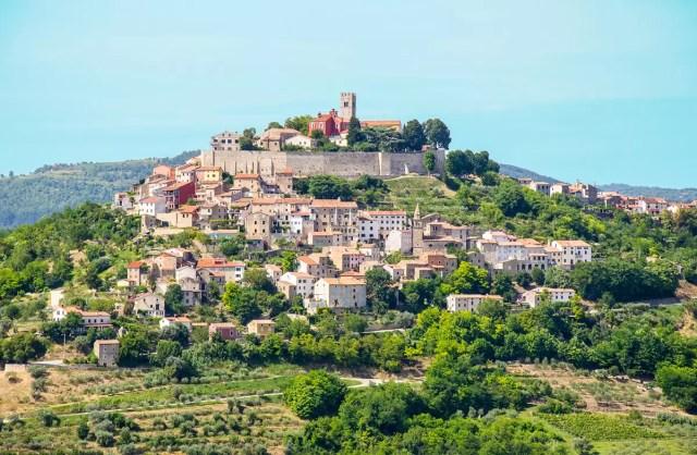 The hilltop town of Motovun in upper Croatia