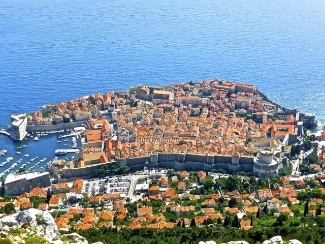 The old town of Dubrovnik, Croatia, as seen from above