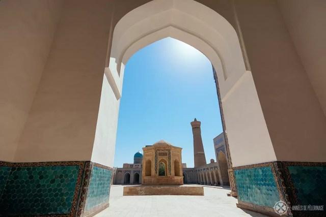 courtyard of the Kalan mosque in bukhara uzbekistan