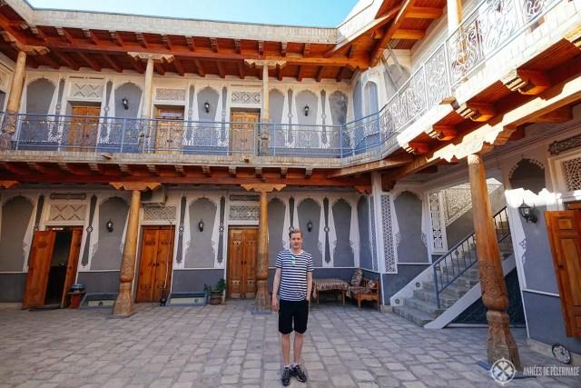 me in the courtyard of hotel minifzia bukhara uzbekistan