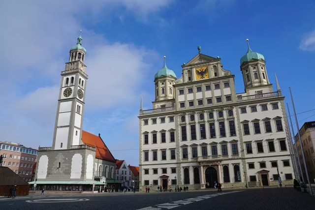 Old town hall of Augsburg and medieval clock tower (8th century)