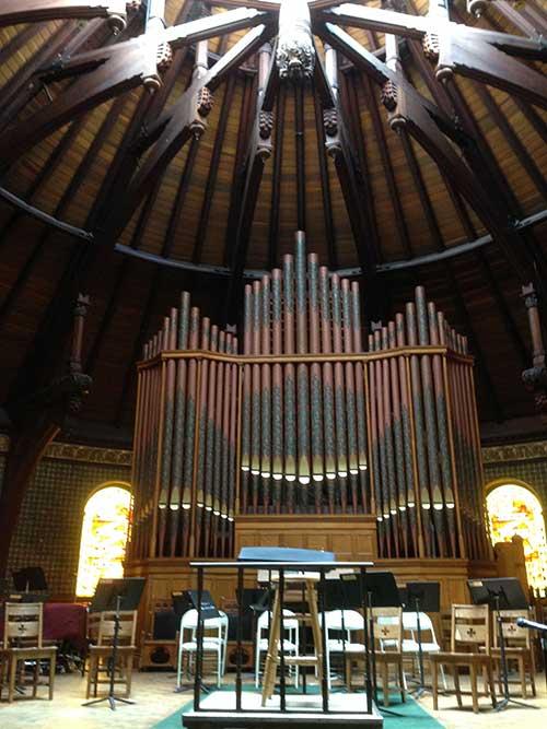 The Newton Philharmonic rehearses in the sanctuary of the First Baptist Church in Newton, Massachusetts