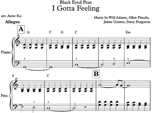 I Gotta Feeling for easy piano