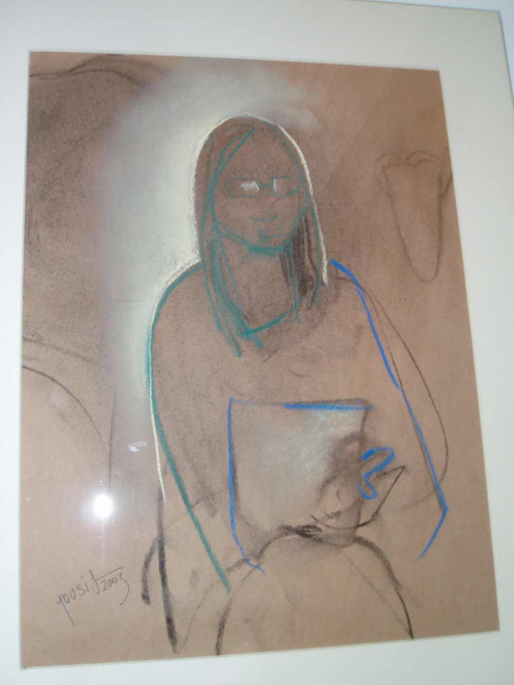 Chalk portrait by Yousif Naser, 2003