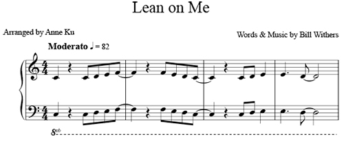 Bill Withers' Lean on Me is an exercise in parallel pentascales in the white key of C major.