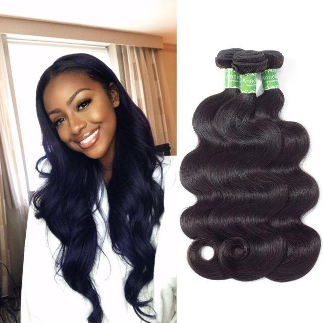 annelbel hair body wave human hair 3 bundles indian hair natural black color
