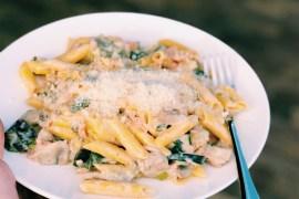Glutenvrije pasta met zalm in crème fraiche