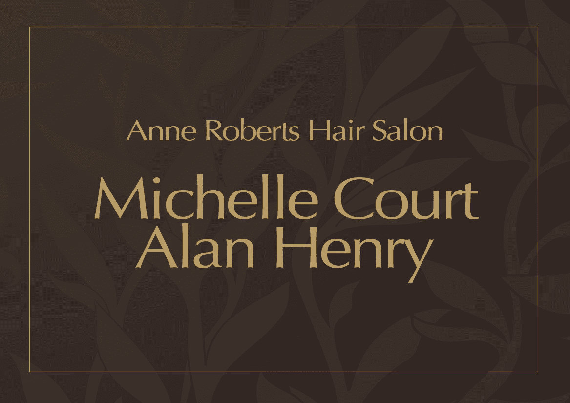 Michelle Court and Alan Henry written in gold on brown