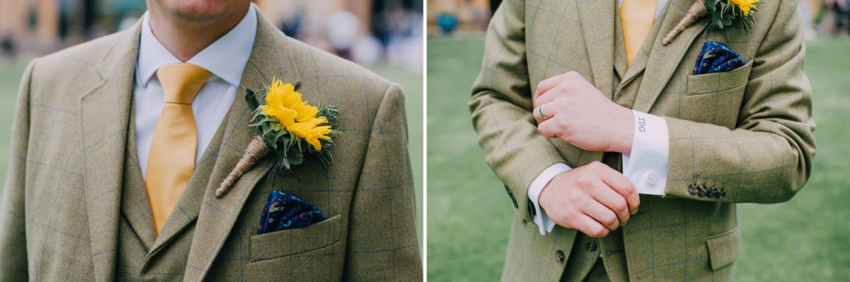 groom_tweed-cordings suit-sunflower-monogram