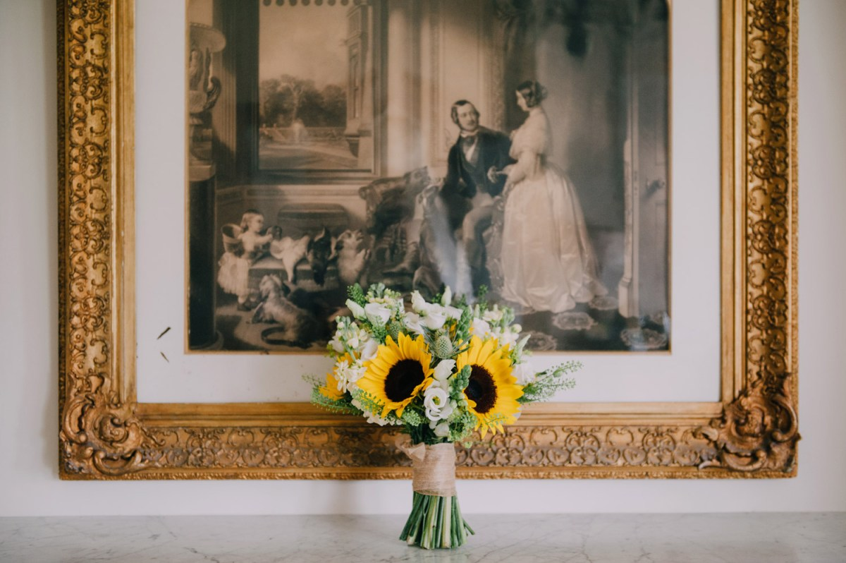 ettington park-wedding-sunflower bridal bouquet