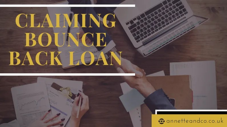 A blog post banner image that says claiming bounce back loan with a website link on the lower part and a background image of two three business people making a deal