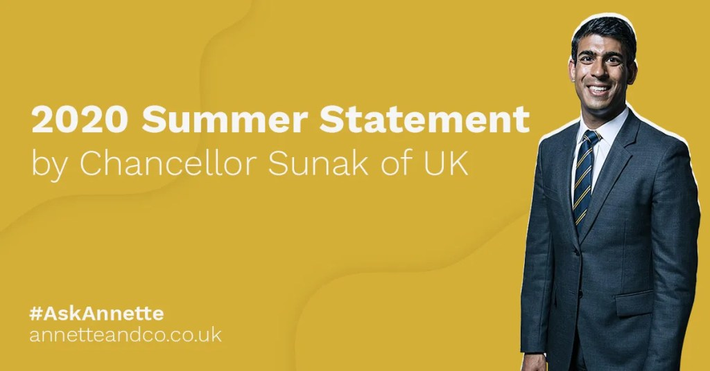 a featured image of a blog post that highlights the topic 2020 Summer Statement by Chancellor Sunak of UK