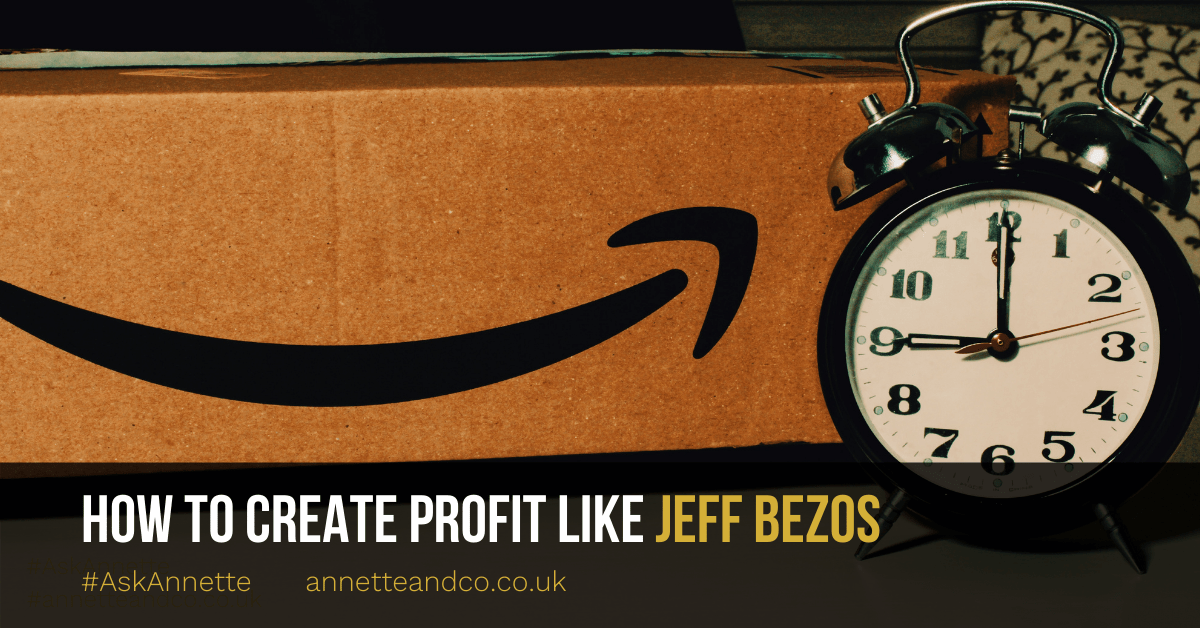 a blog featured image about amazon entitled how to create profit like jeff bezos