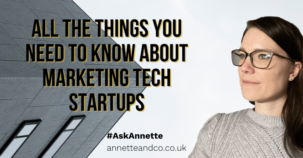 a blog featured image with a topic title about All the Things You Need to Know About Marketing Tech Startups